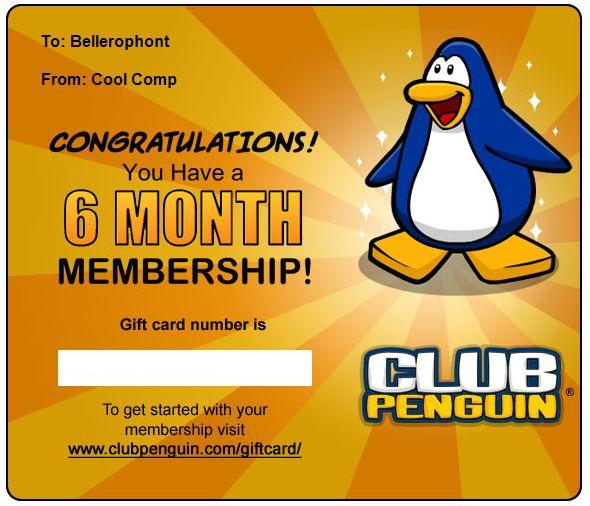 Club Penguin Membership Codes